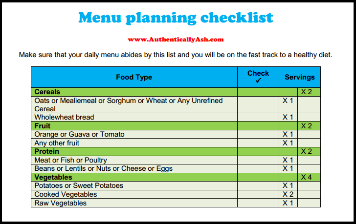 Menu Planning Checklist - www.AuthenticallyAsh.com