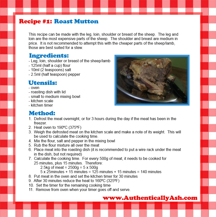 Recipe No. 1 - Roast Mutton - www.AuthenticallyAsh.com