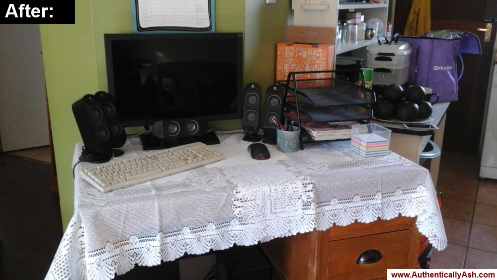 Desk at home, reorganized.