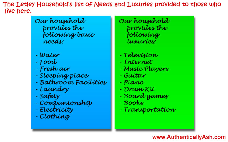 Run your household like a business: Needs and Luxuries our household provides | www.AuthenticallyAsh.com