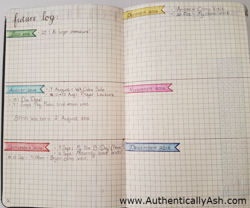 Easy Task Management System - Bullet Journal - Future Log