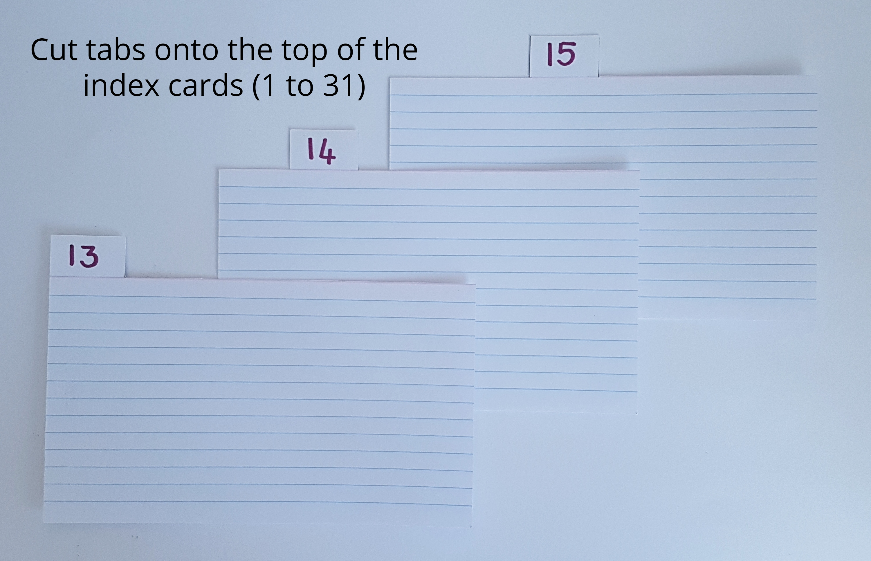 Image to demonstrate how to cut the tabs into the index cards