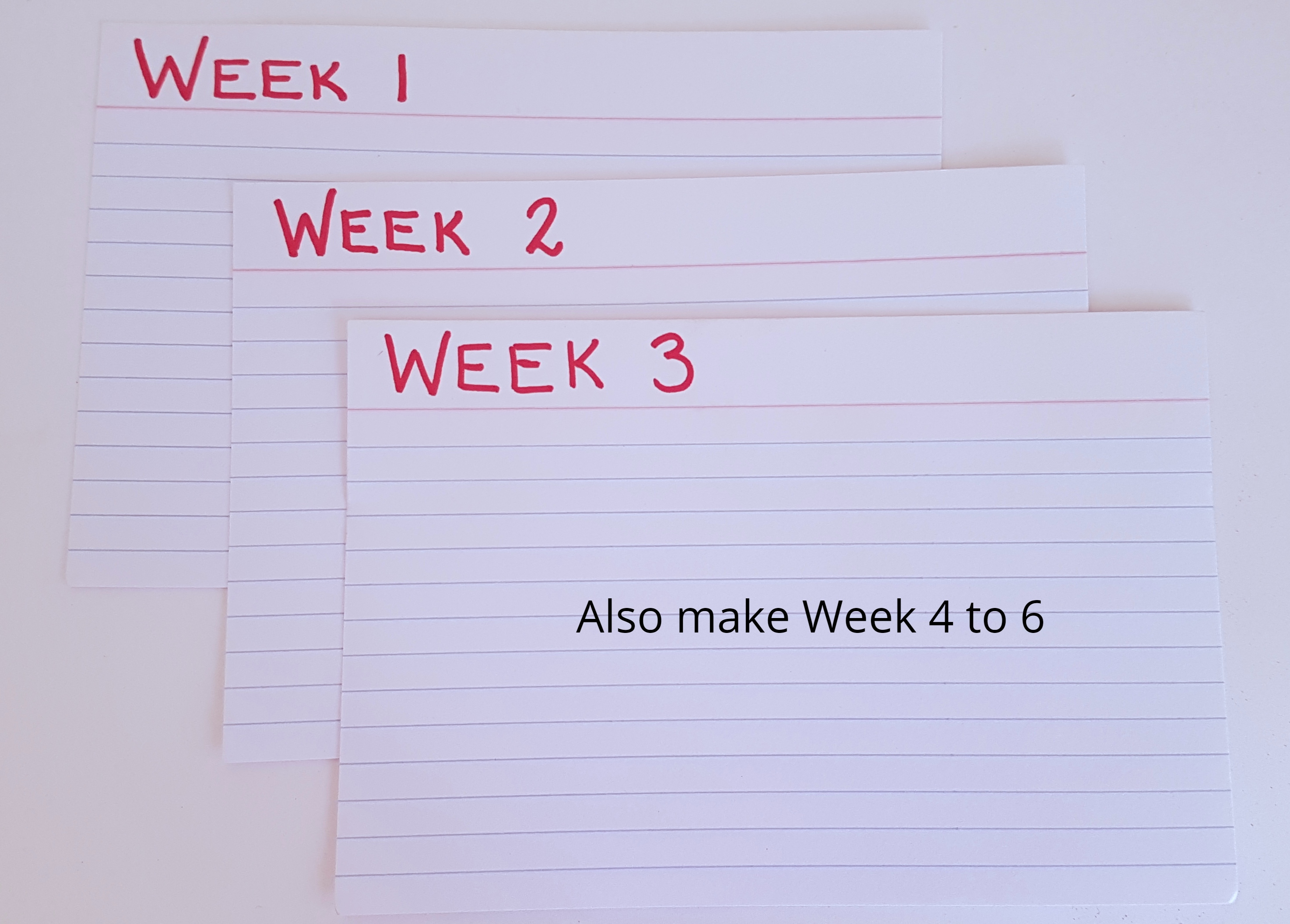 The weekly tabs for this index card system