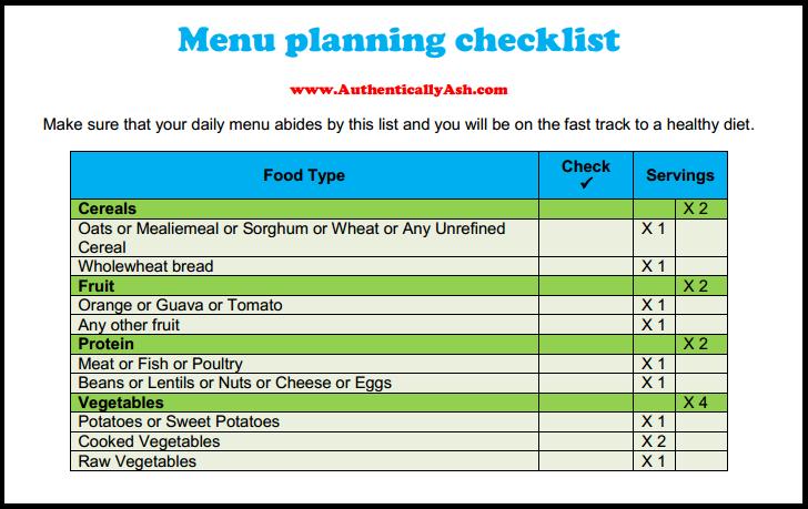 Menu Planning Checklist - www.AuthenticallyAsh.com