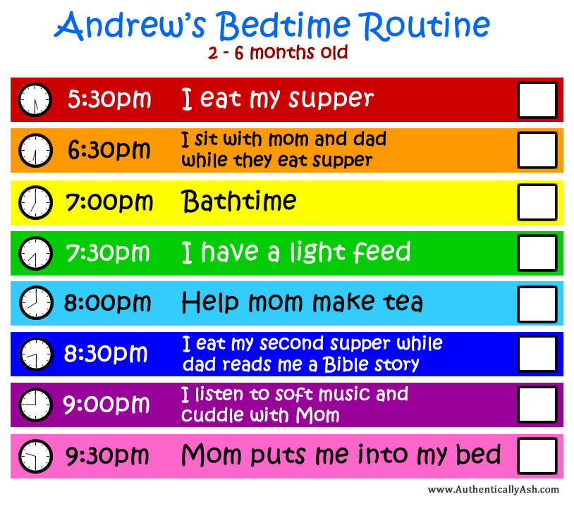 Baby bedtime routine from 2 months to 6 months old.