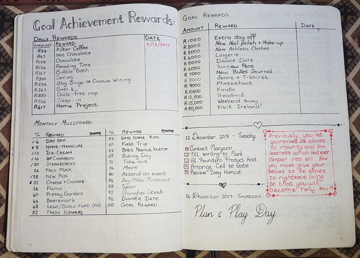 09 Bullet Journal December 2017 - Goal Achievement Rewards and monthly milestones Version 2