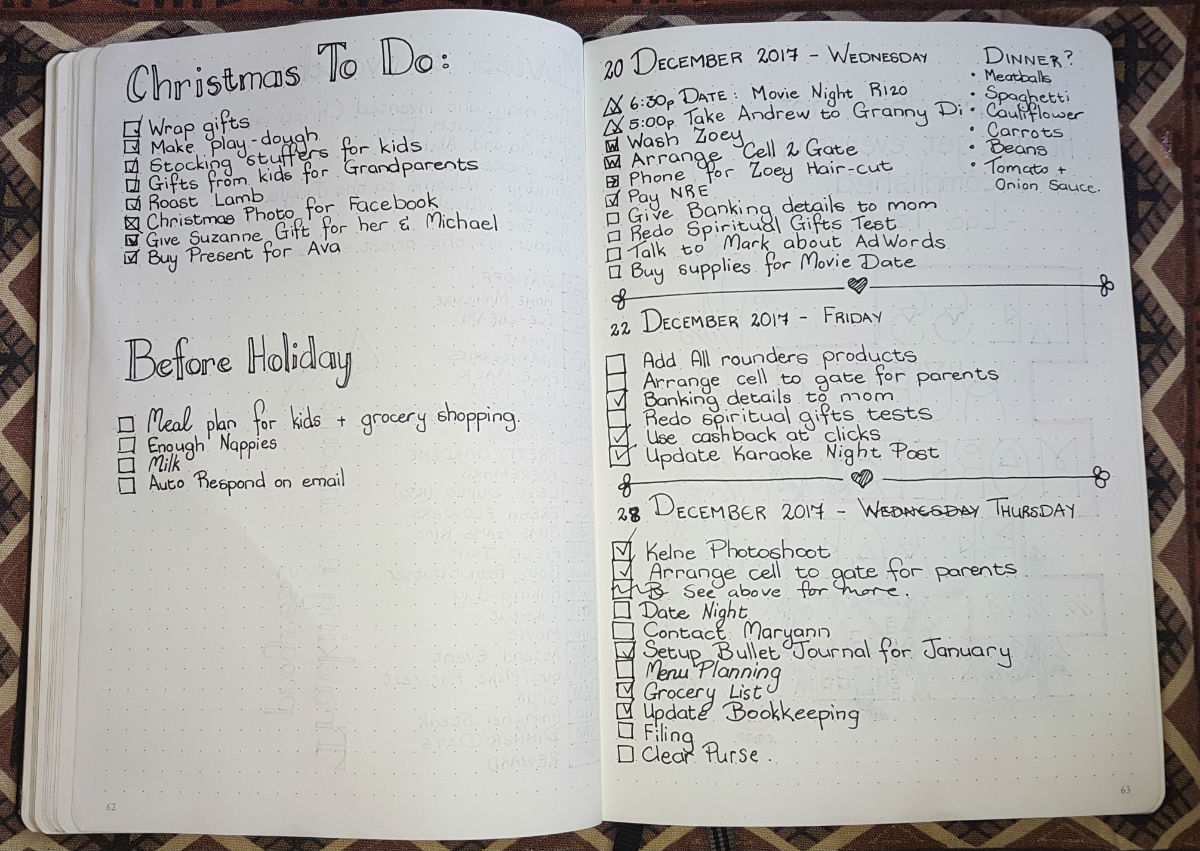 11 Bullet Journal December 2017 - Christmas To Do - Holiday To Do - Dailies 4