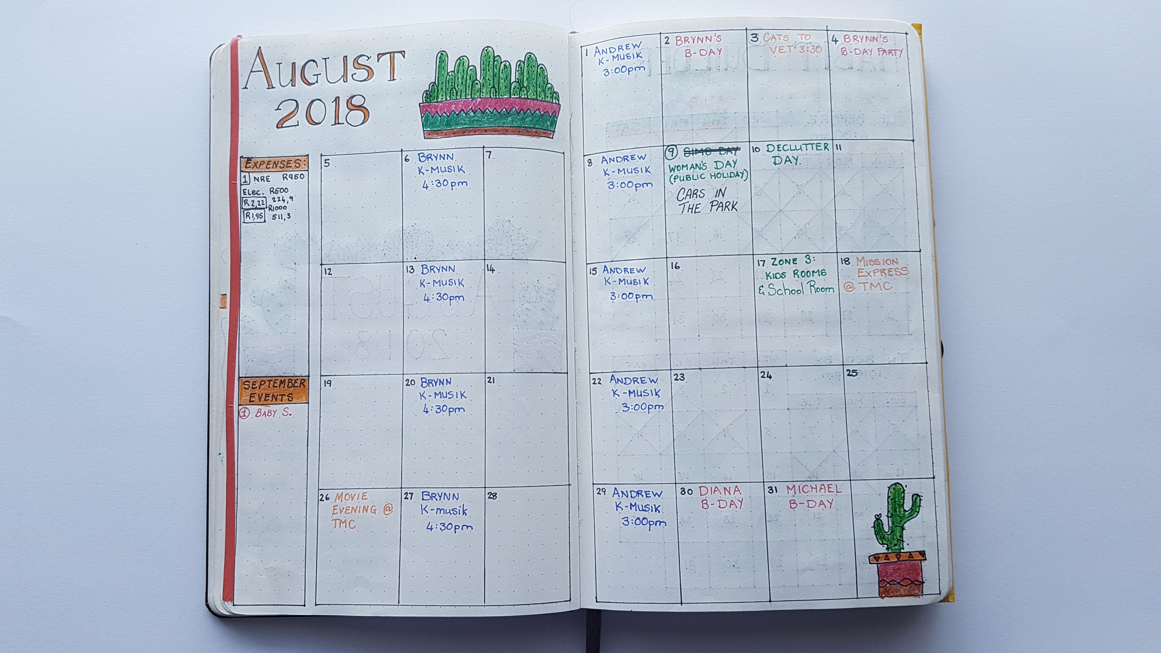 Complete August Monthly Spread - AuthenticallyAsh