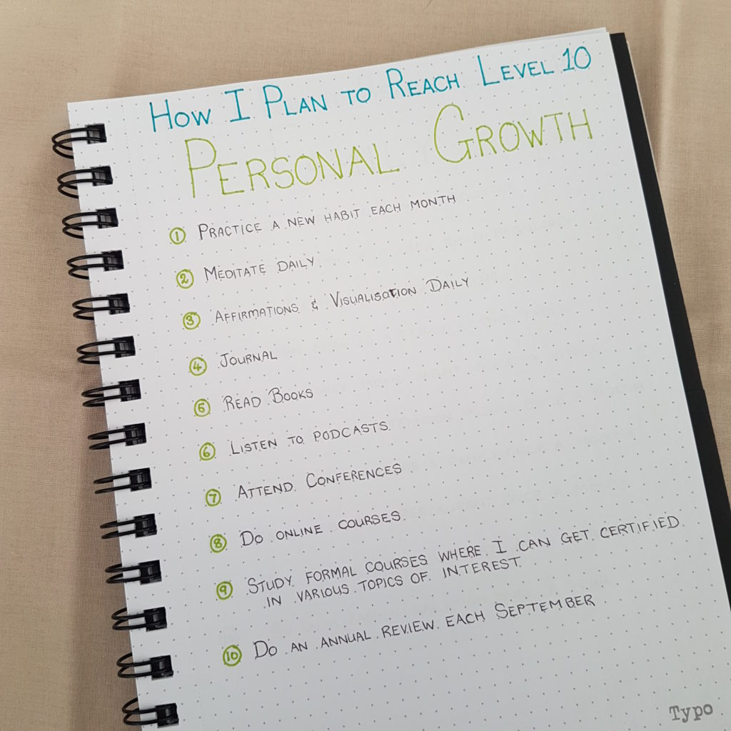 Level 10 Life Personal Growth Goals - Bullet Journal | AuthenticallyAsh.com