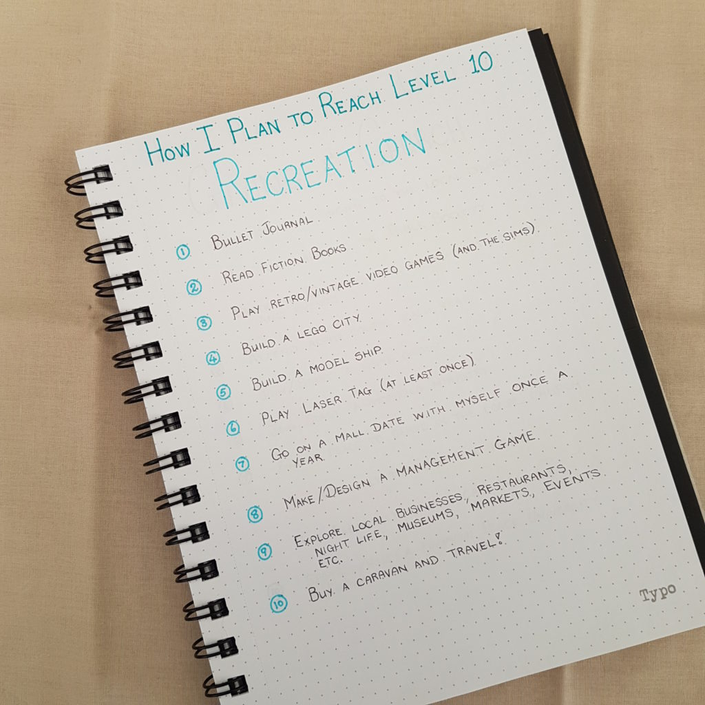 Level 10 Life Recreation Goals - Bullet Journal | AuthenticallyAsh.com