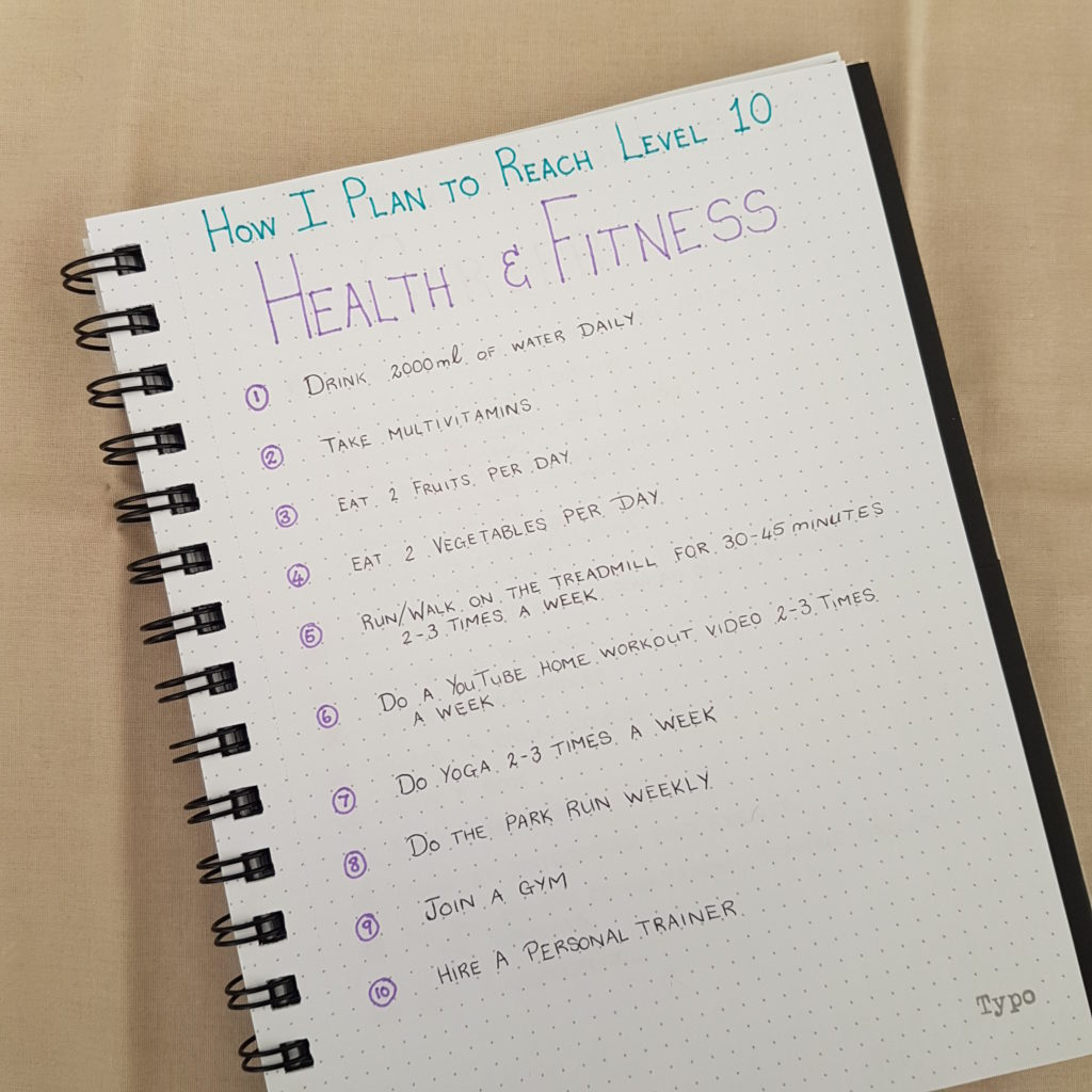 Level 10 Life Health and Fitness Goals Goals - Bullet Journal | AuthenticallyAsh.com